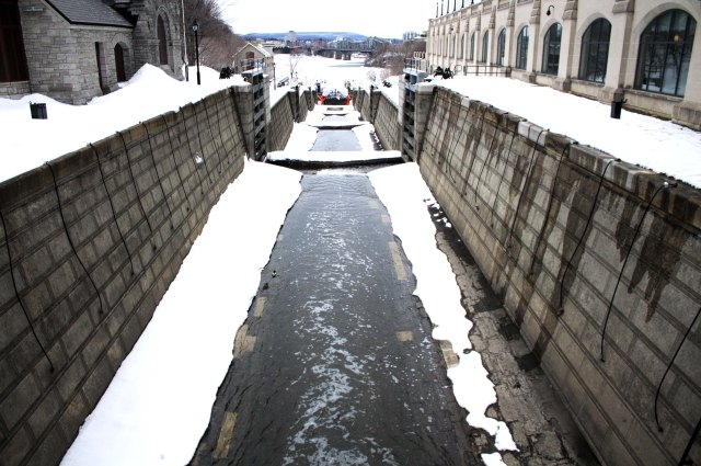 Crossing the Canal locks