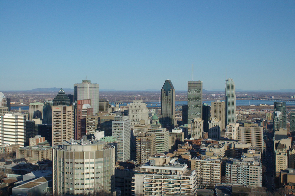 View of the downtown core from the Mount Royal Lookout.