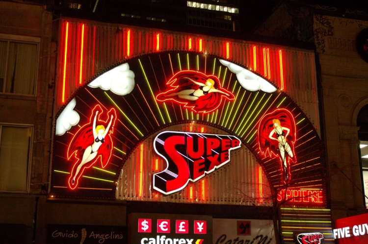 A Montreal Landmark: The iconic Club Super Sexe Neon Sign