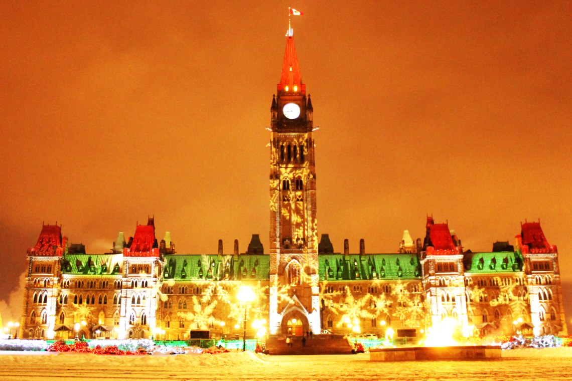 Parliament Hill in Christmas Colours