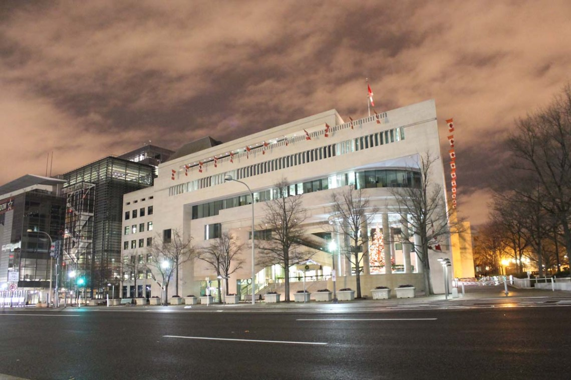 The Canadian Embassy enjoys a place of prominence on Pennsylvania Ave