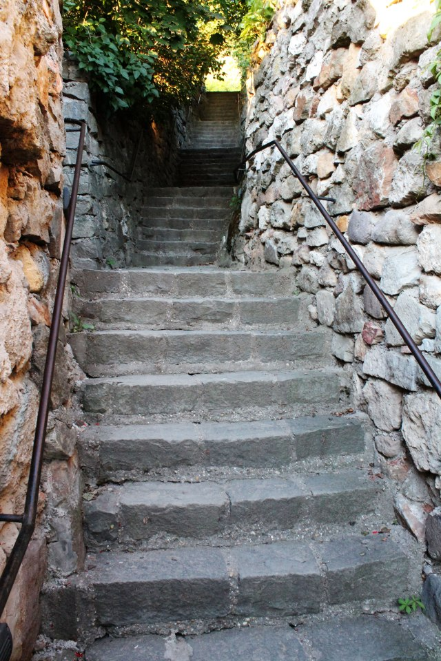 The winding stairs up to the castle hill.