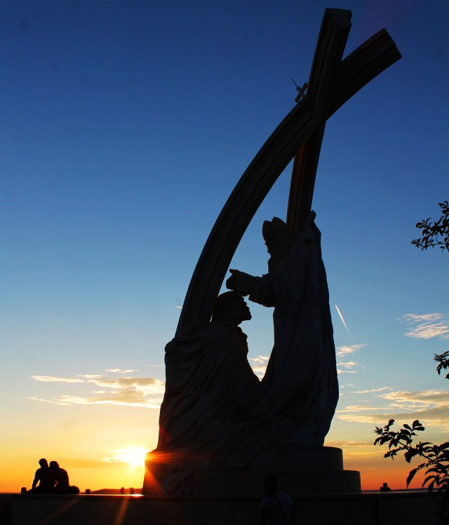 Sunset at a sculpture depicting the coronation of St. Stephen.